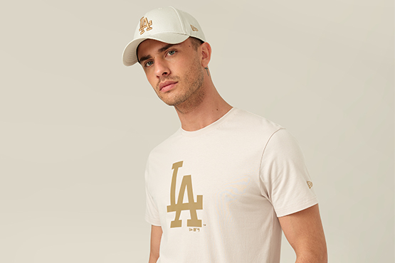 LA Dodgers T-Shirt und 9FORTY-Kappe in Steingrau