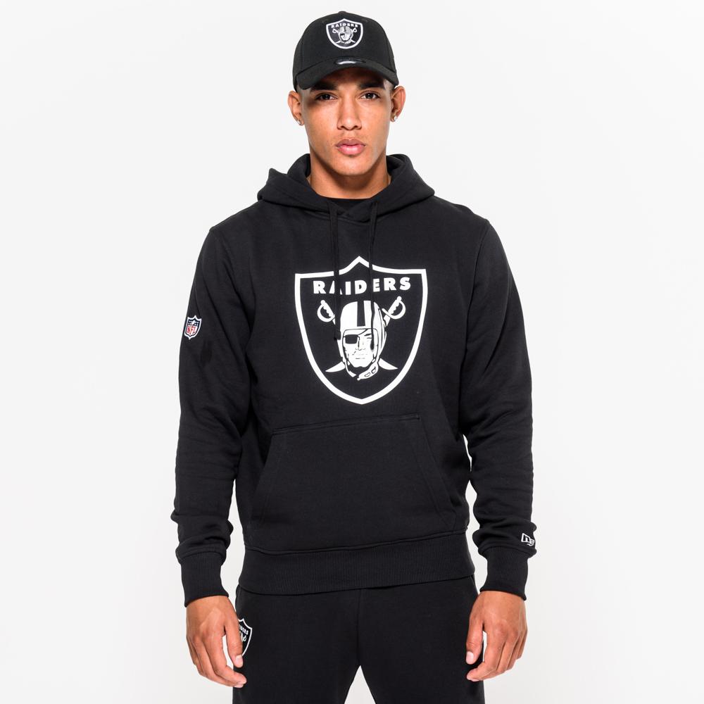 Felpa con cappuccio nera con logo degli Oakland Raiders