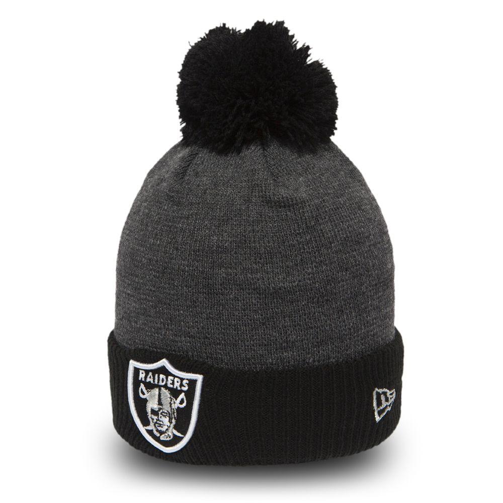 Berretto a maglia con risvolto e pompon Oakland Raiders Pop bambino 5a1cc767a8e9