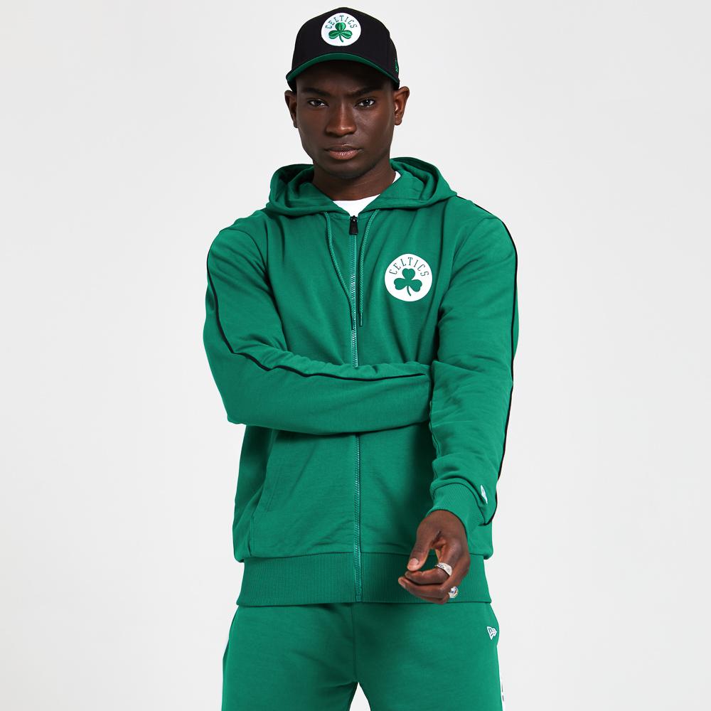 Sudadera con cremallera Boston Celtics Stripe Piping, verde