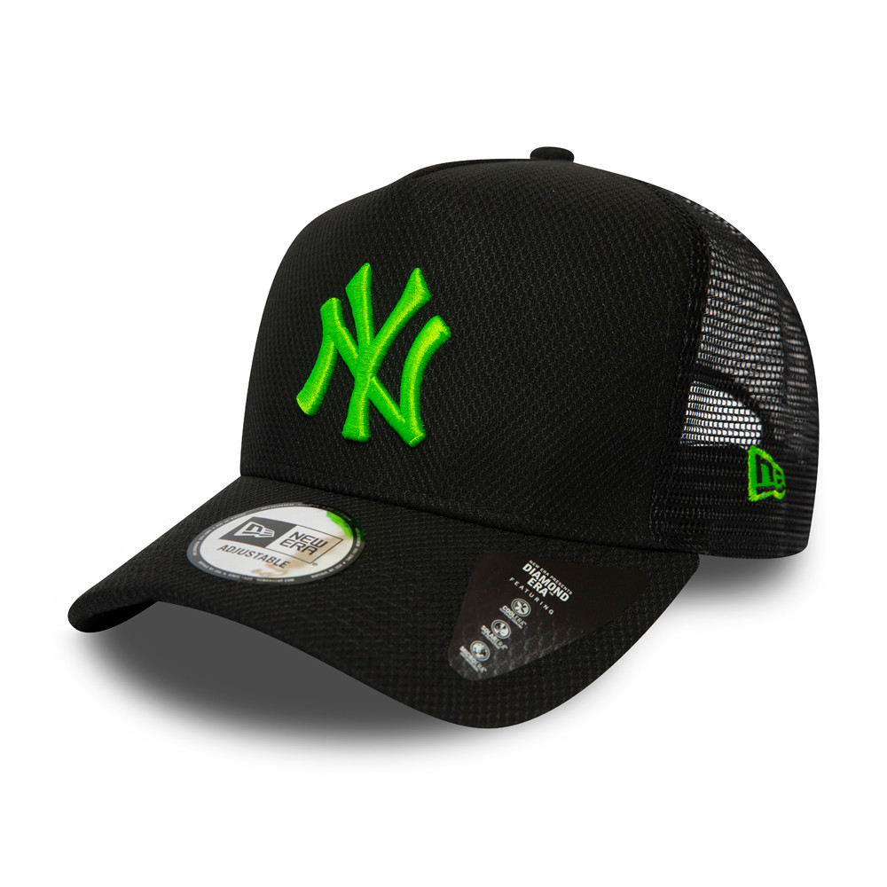 New York Yankees Diamond Era Neon Green Logo Black Trucker