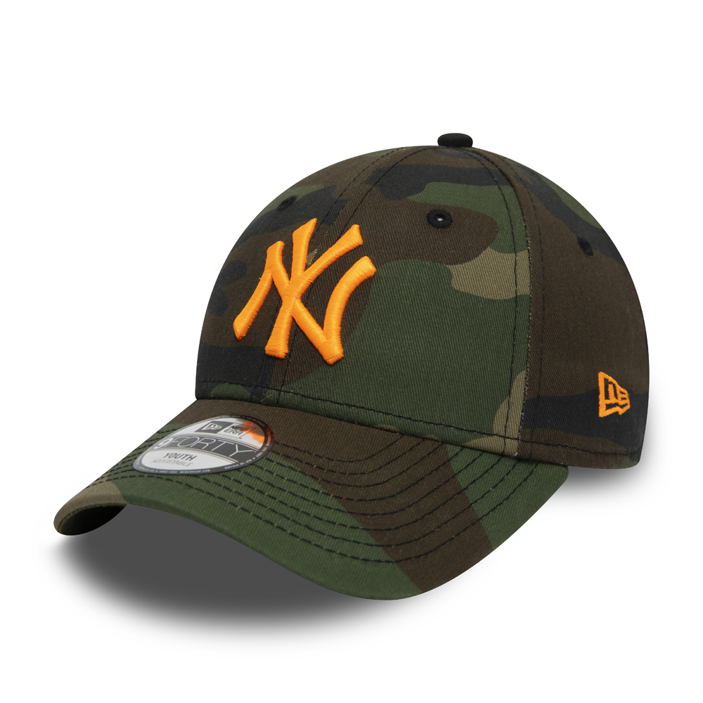 9FORTY – New York Yankees – Kinderkappe in Camouflage mit Logo in Orange