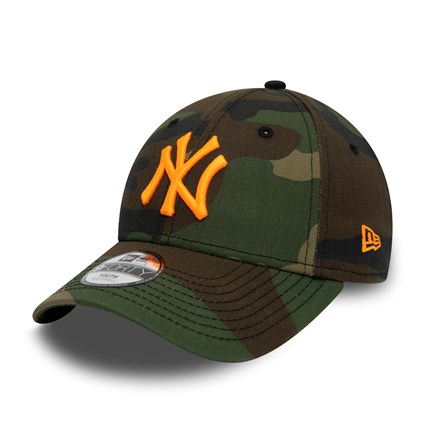 New York Yankees Orange Logo Kids Camo 9FORTY Cap