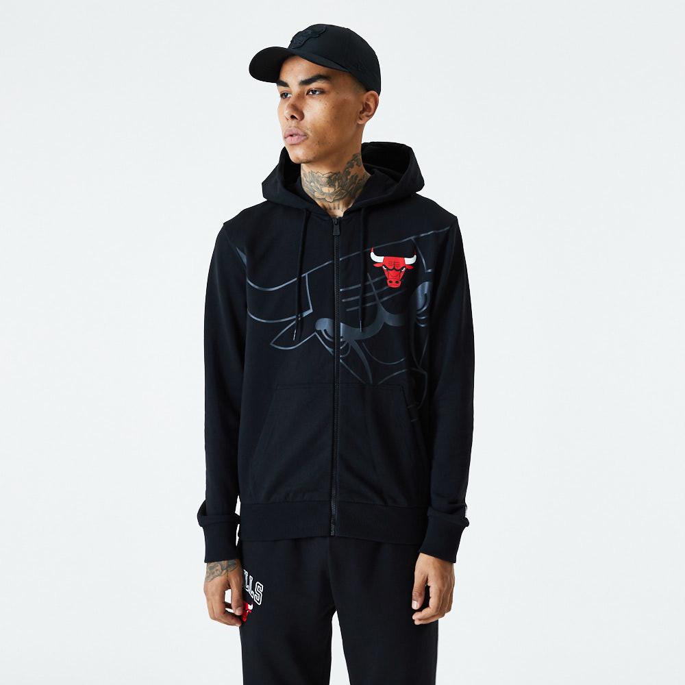 Sweat à capuche zippé noir grand logo des Chicago Bulls