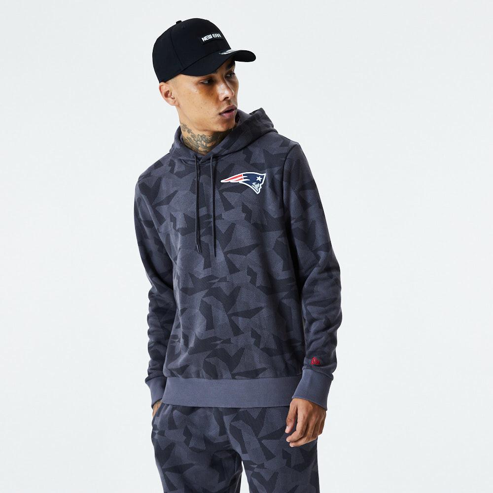 Sweat à capuche camouflage gris motif géométrique des New England Patriots