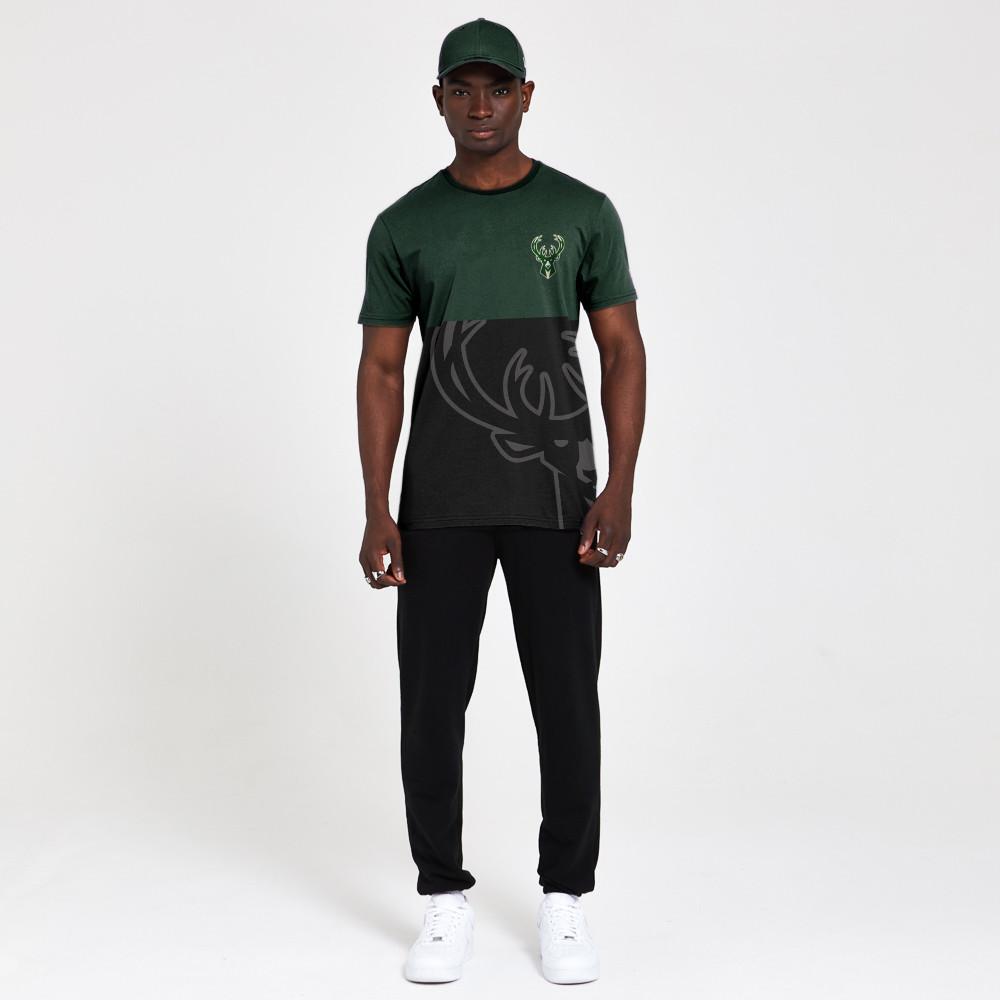 T-shirt Milwaukee Bucks Colour Block nera