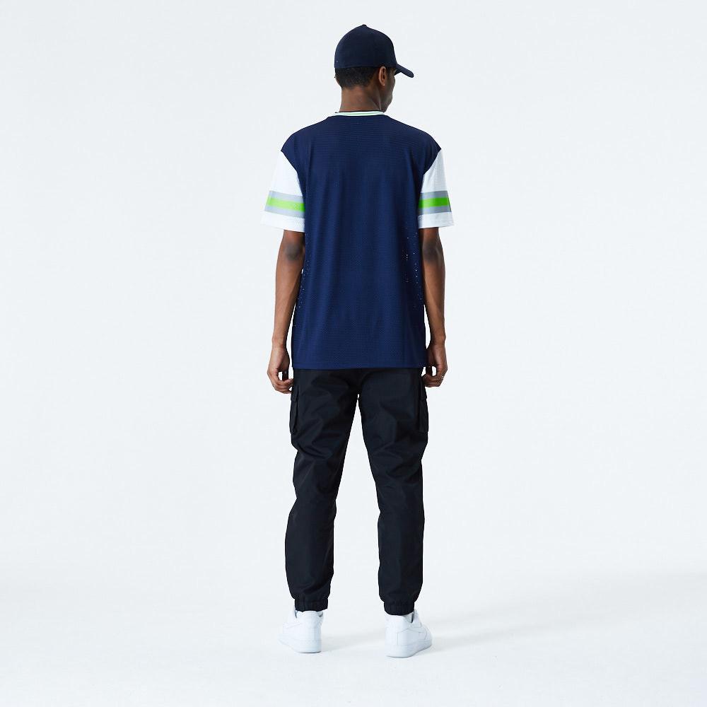 T-shirt Seattle Seahawks Stripe Sleeve Oversized blu