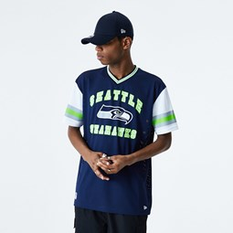 Camiseta extragrande Seattle Seahawks Stripe Sleeve, azul