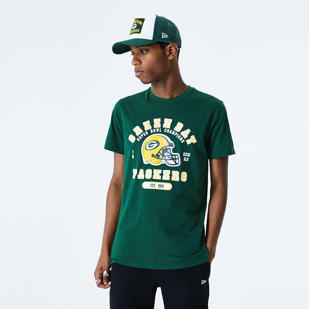 T-shirt vert inscription et casque des Green Bay Packers