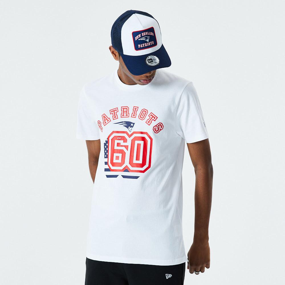T-shirt blanc Flag Number des Patriots de La Nouvelle-Angleterre