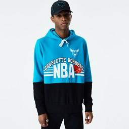 Sweat à capuche Charlotte Hornets rétro Color Block bleu