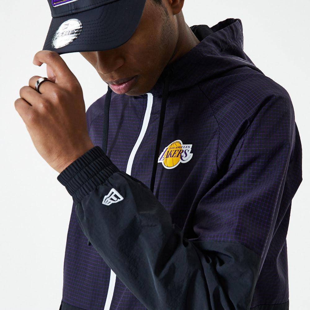 Los Angeles Lakers – Karierte Ripstop-Windjacke in Schwarz