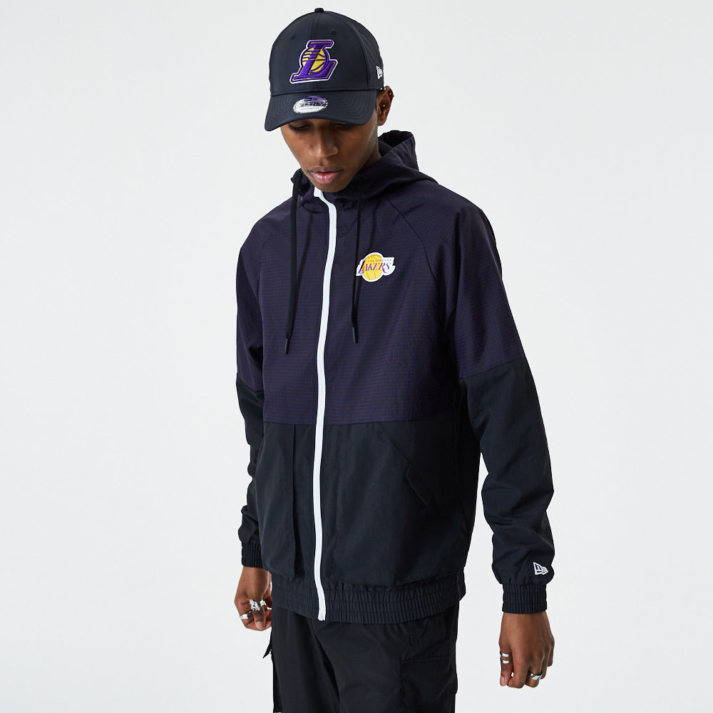 Los Angeles Lakers Checkered Ripstop Black Windbreaker