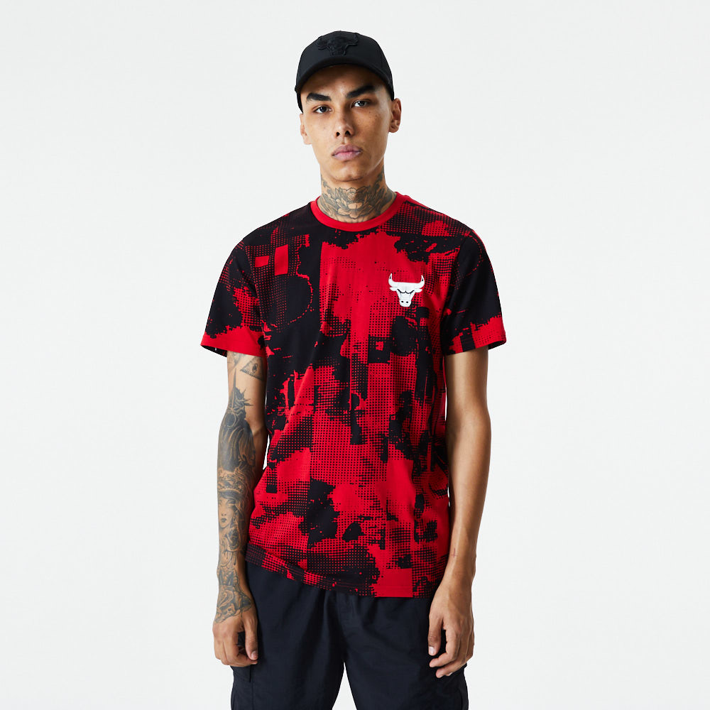 Chicago Bulls Error Print Red T-Shirt