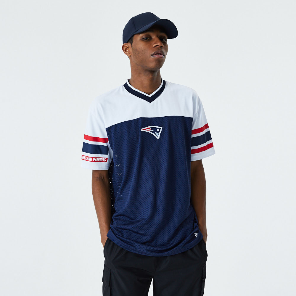 T-Shirt New England Patriots Jacquard oversize in rete blu