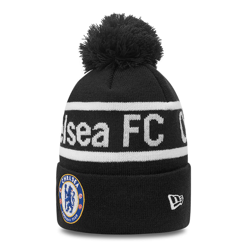 Gorro de punto con pompón Chelsea FC Wordmark, negro