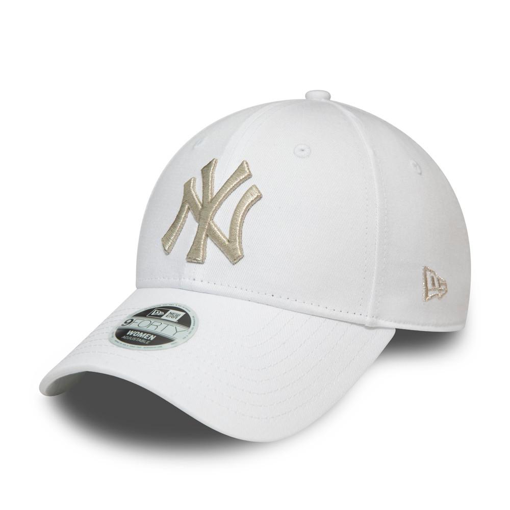 Casquette 9FORTY blanche à logo argent métallisé des New York Yankees