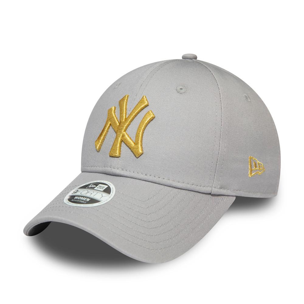 Casquette 9FORTY grise pour femme à logo métallique des New York Yankees