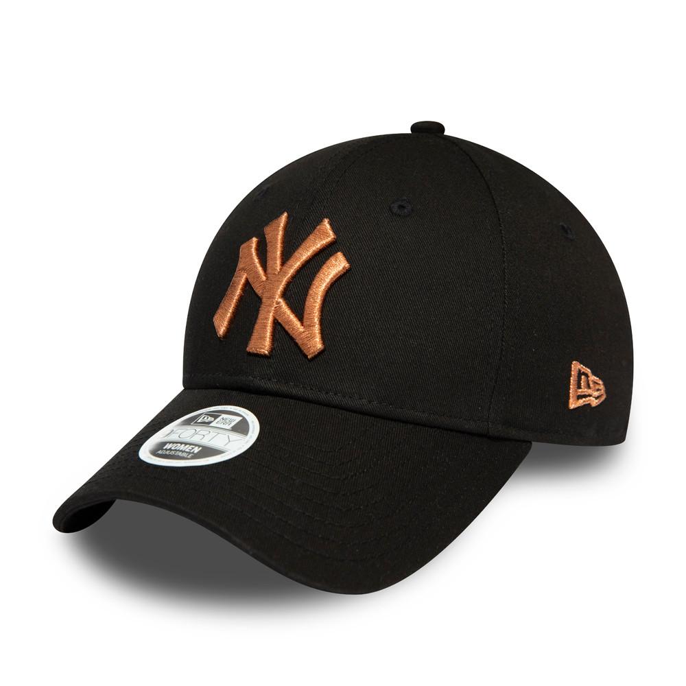 Casquette 9FORTY à logo métallique bronze pour femme des New York Yankees
