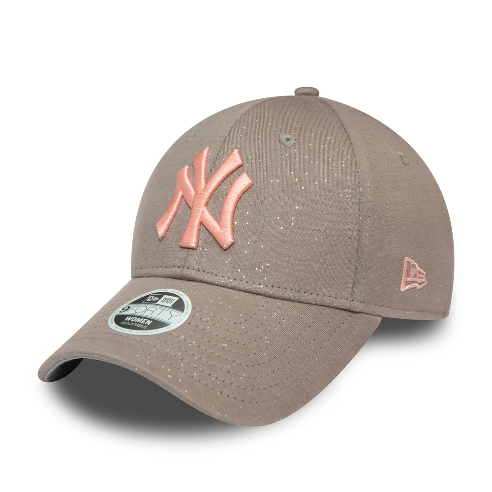 Casquette 9FORTY en jersey gris et logo rose pour femme des New York Yankees
