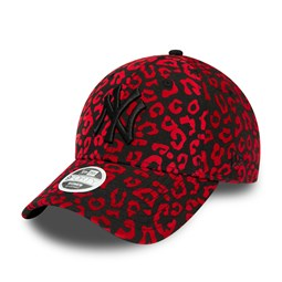 New York Yankees Flocked Animal Print Womens Red 9FORTY Cap