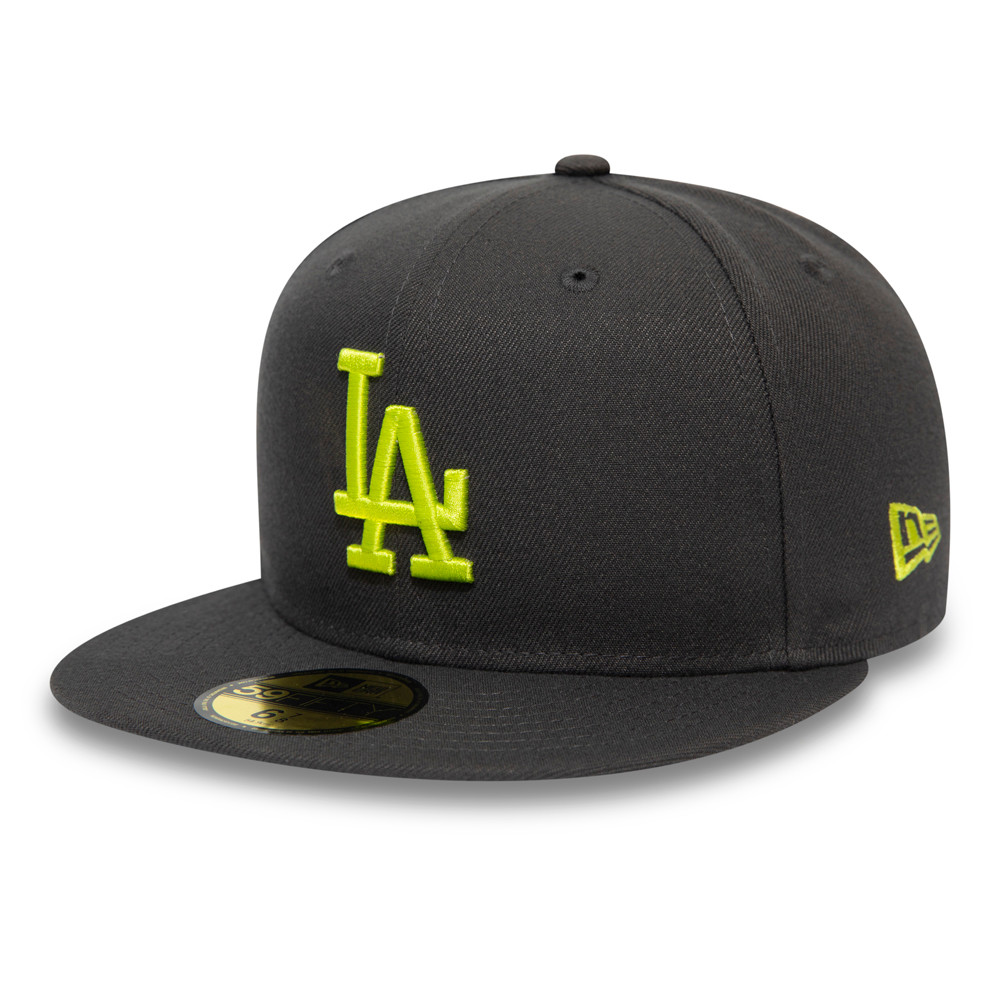 Los Angeles Dodgers League Essential Yellow Logo Grey 59FIFTY Cap