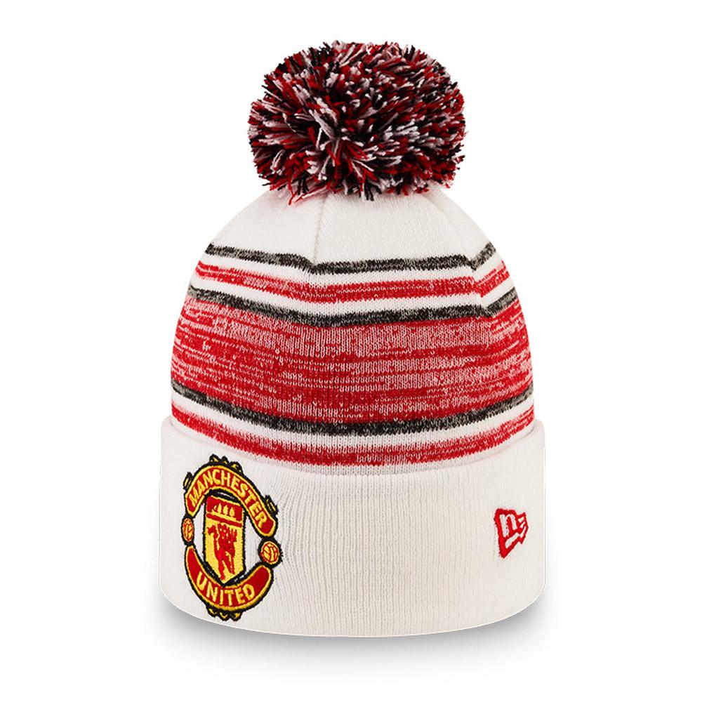 Berretto di maglia con pompon Manchester United a strisce bianco