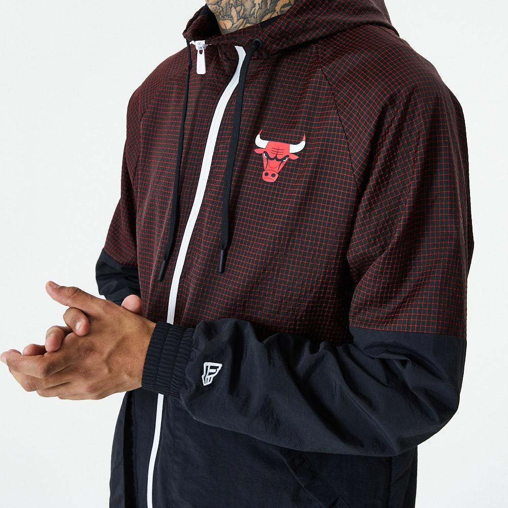 Chicago Bulls – Karierter Ripstop-Windbeaker in Schwarz