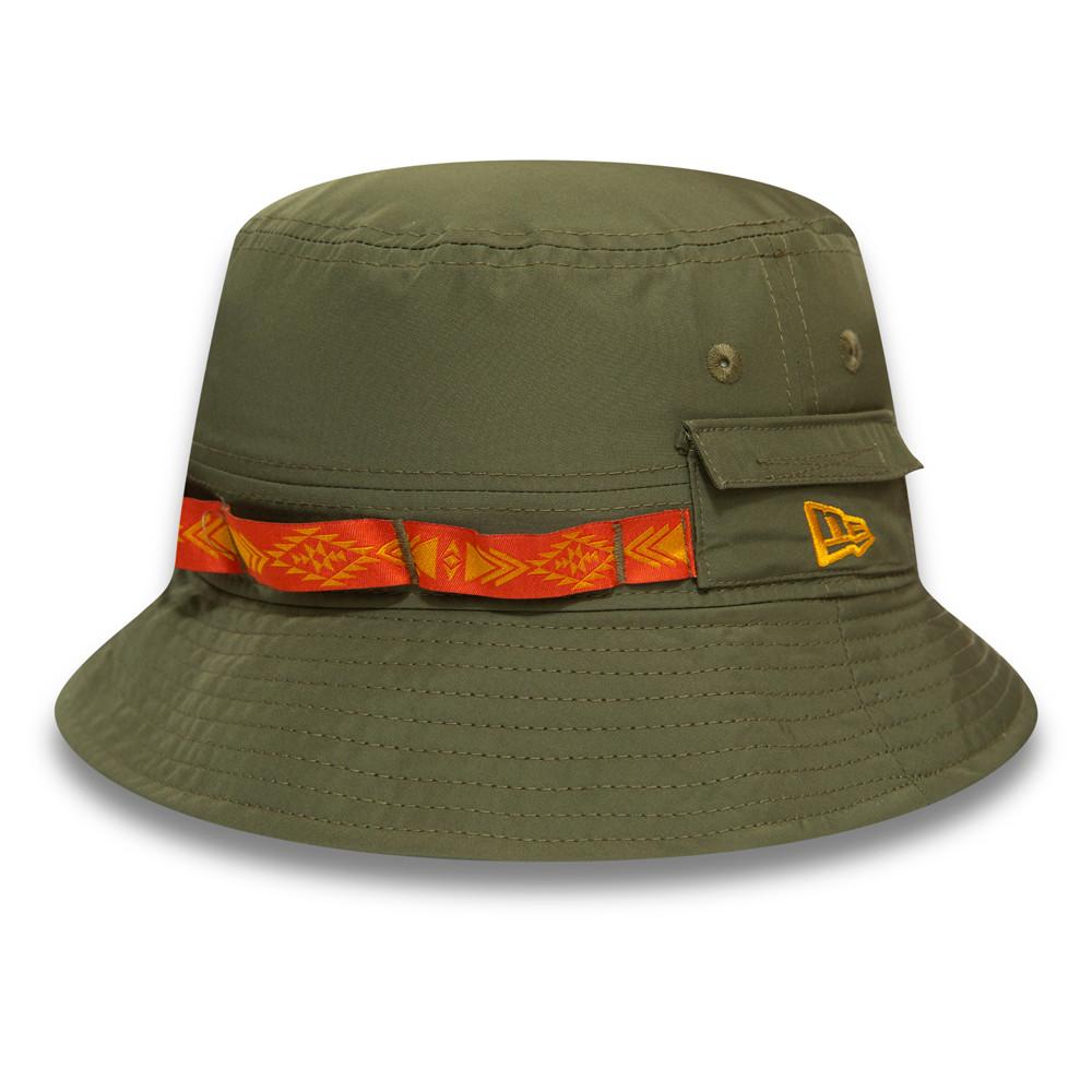 Cappello da pescatore New Era Woven Tape kaki