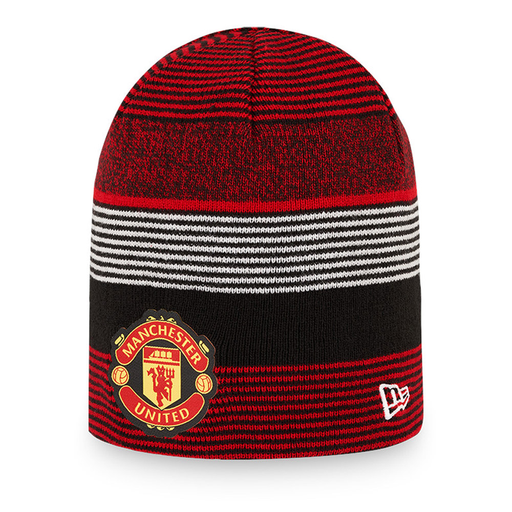 Bonnet à revers rayé réversible Manchester United, rouge