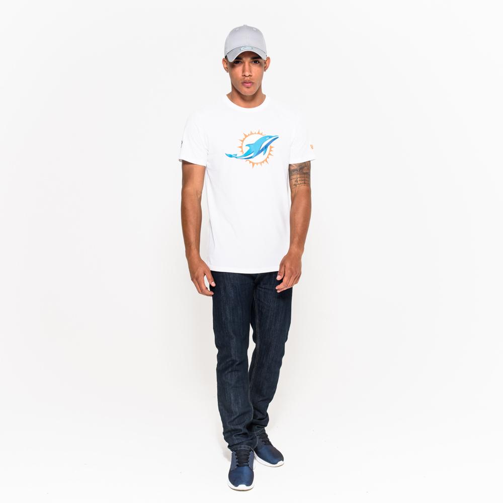 T-shirt Miami Dolphins blanc avec logo de l'équipe