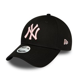 New York Yankees Womens League Essential Pink Logo Black 9FORTY Cap