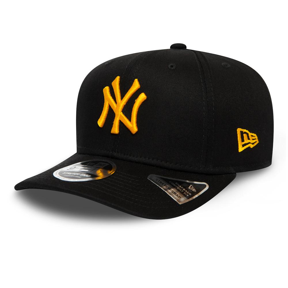 Casquette New York Yankees League Essential Stretch Snap 9FIFTY à logo jaune, noir