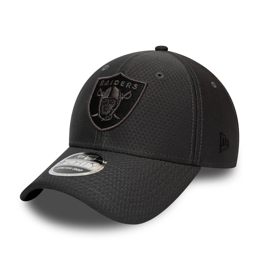 9FORTY – Las Vegas Raiders – Tonal– Stretch-Kappe in Schwarz mit Clipverschluss