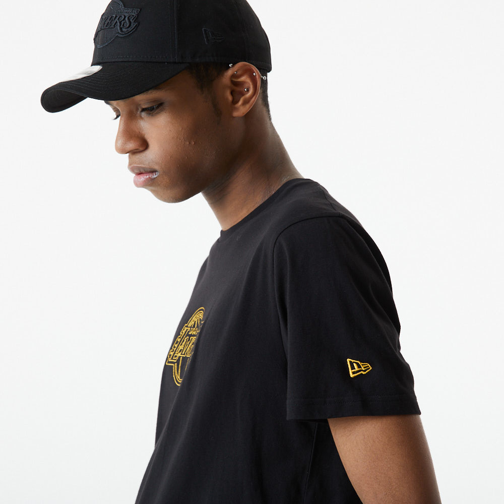 Camiseta LA Lakers Chain Stitch, negro
