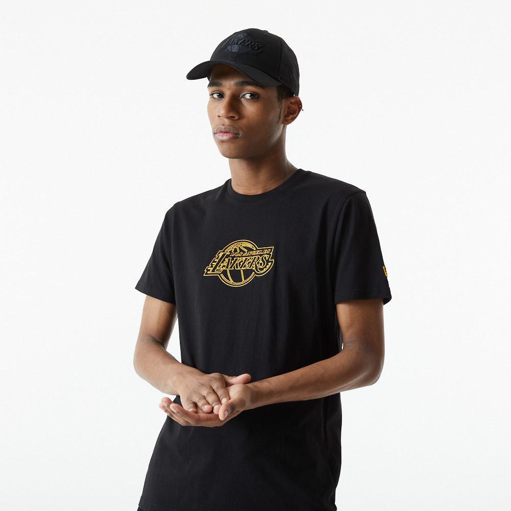T-shirt Chain Stitch des Los Angeles Lakers, noir