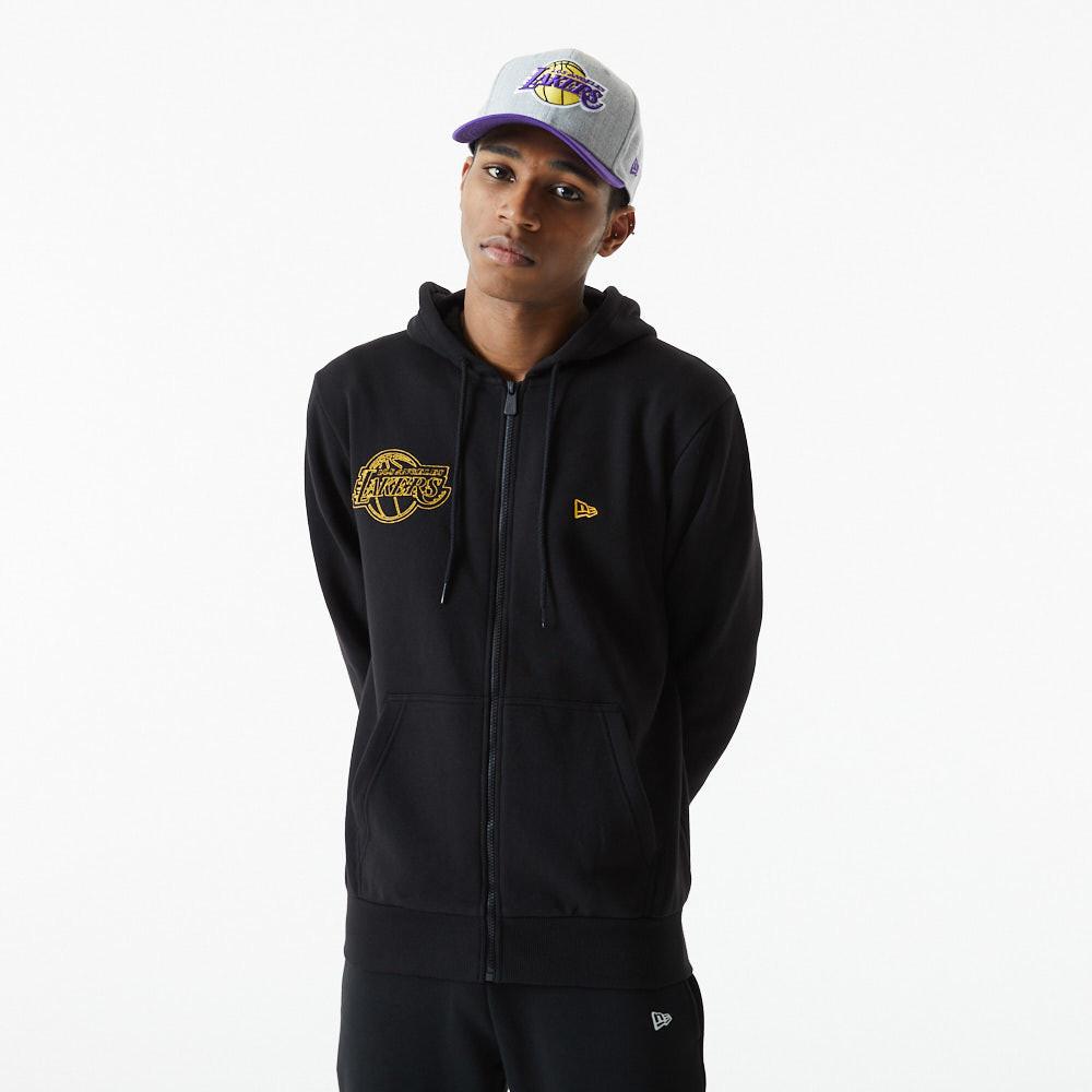Felpa con cappuccio LA Lakers NBA Chain Stitch nera