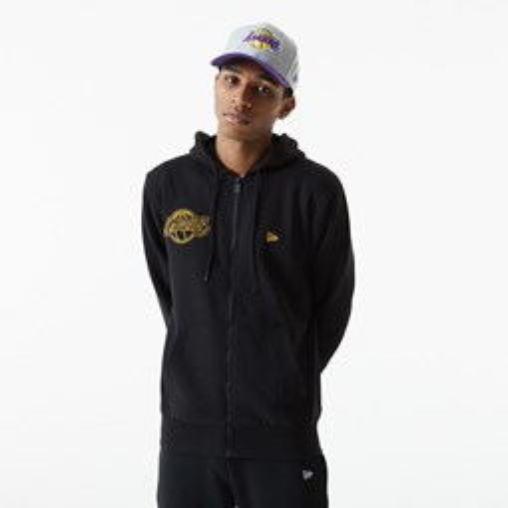 LA Lakers– NBA – Hoodie in Schwarz mit Kettenstich-Stickerei