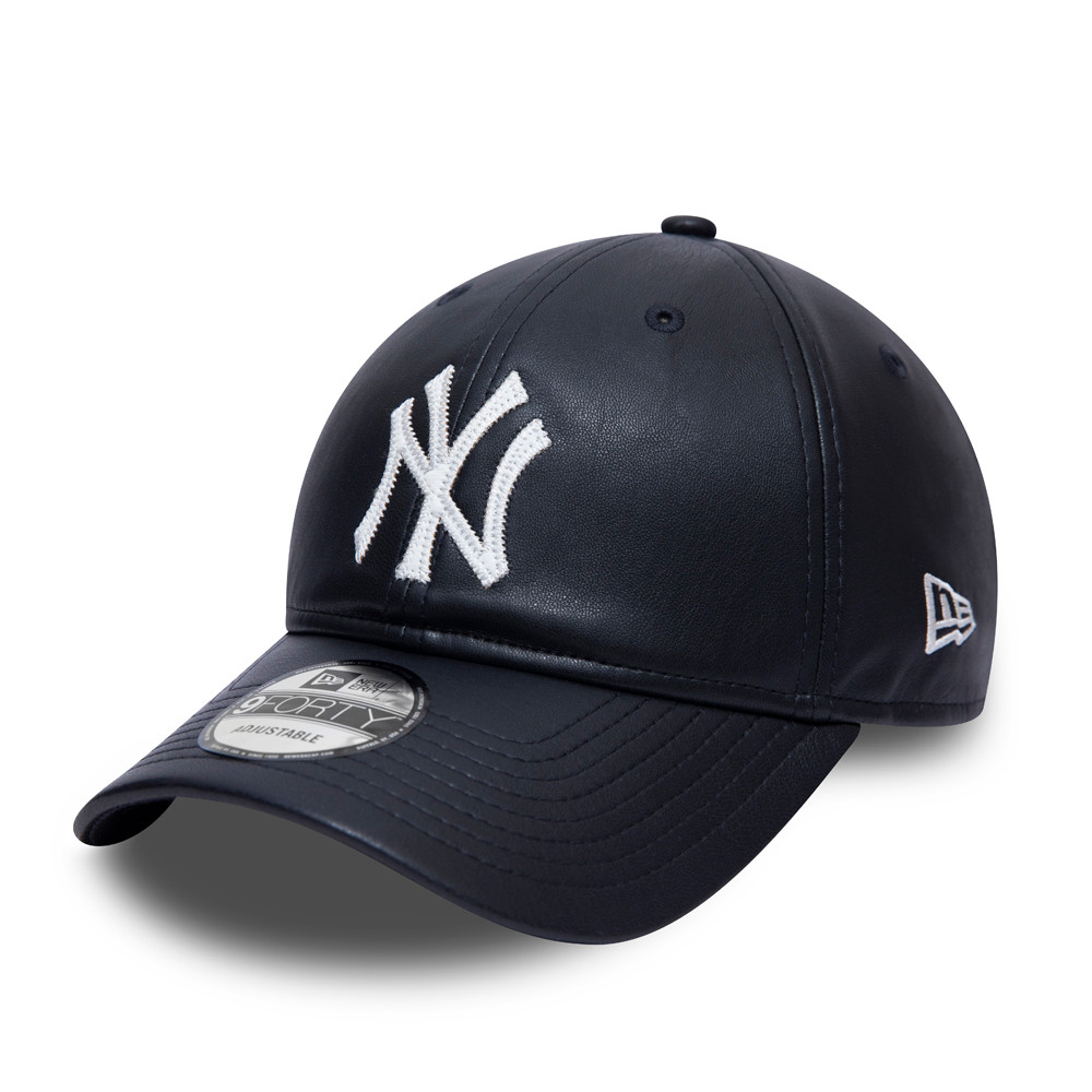 Casquette 9FORTY Synthetic Leather des New York Yankees bleu marine