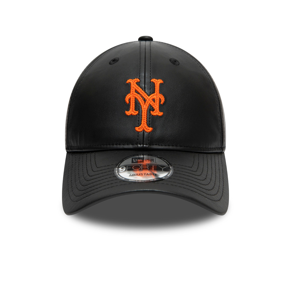 Gorra New York Mets 9FORTY, cuero sintético, negro