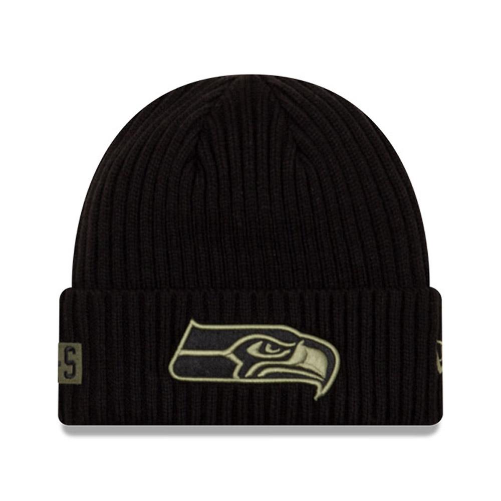 Berretto in maglia NFL Salute To Service nero dei Seattle Seahawks