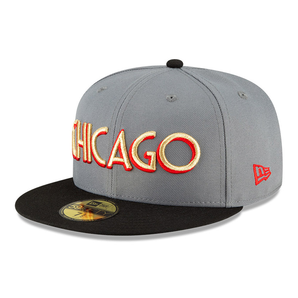 Casquette 59FIFTY NBA City Edition des Chicago Bulls grise