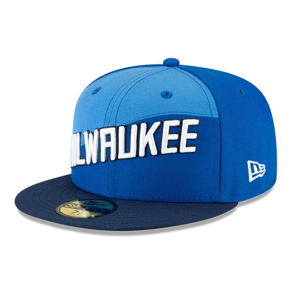 Casquette 59FIFTY des Milwaukee Bucks de laNBACityEdition, bleue