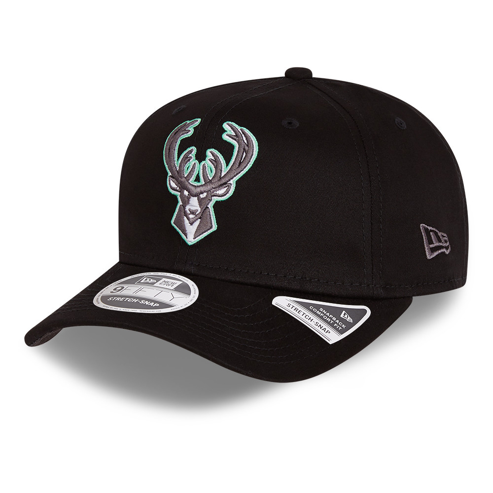 Casquette 9FIFTY stretch des Milwaukee Bucks , noir fluo