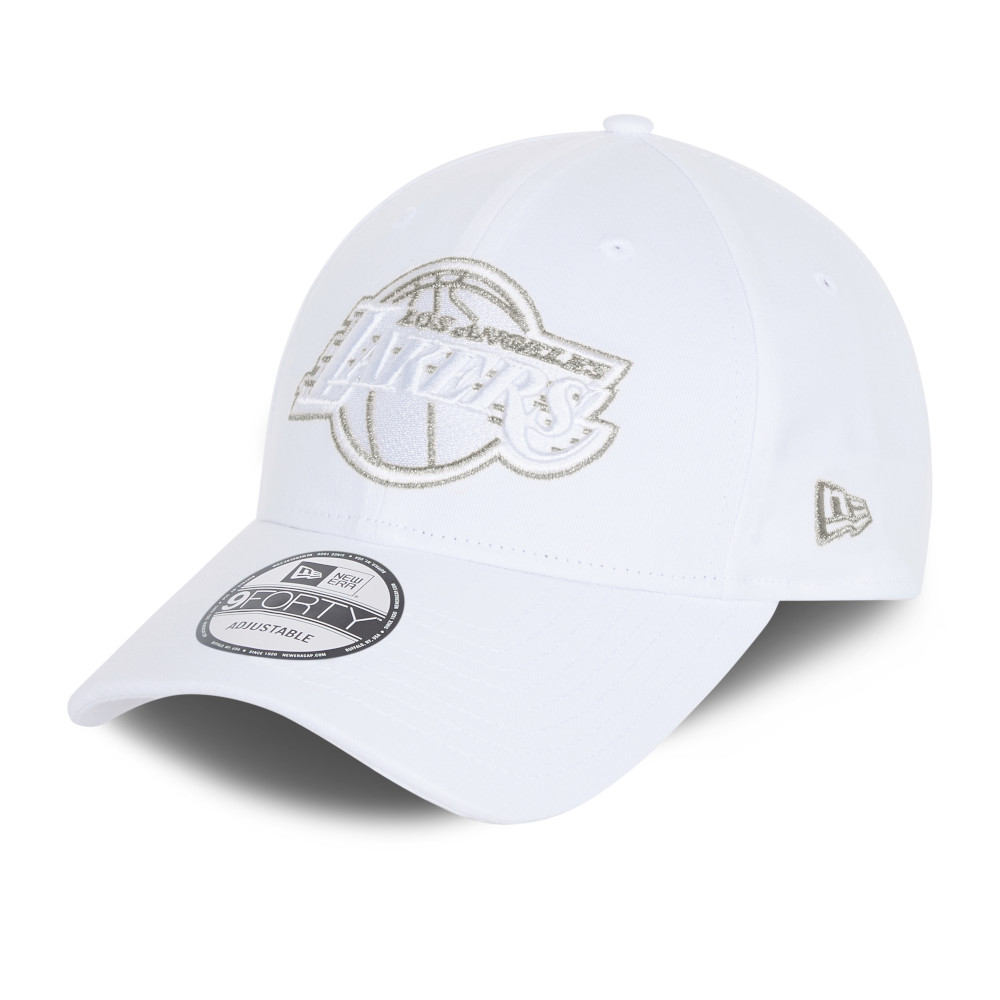 Casquette 9FORTY  Metallic Logo des LA Lakers, blanc