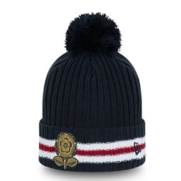 England Rugby Heritage Stripe Navy Bobble Knit Hat