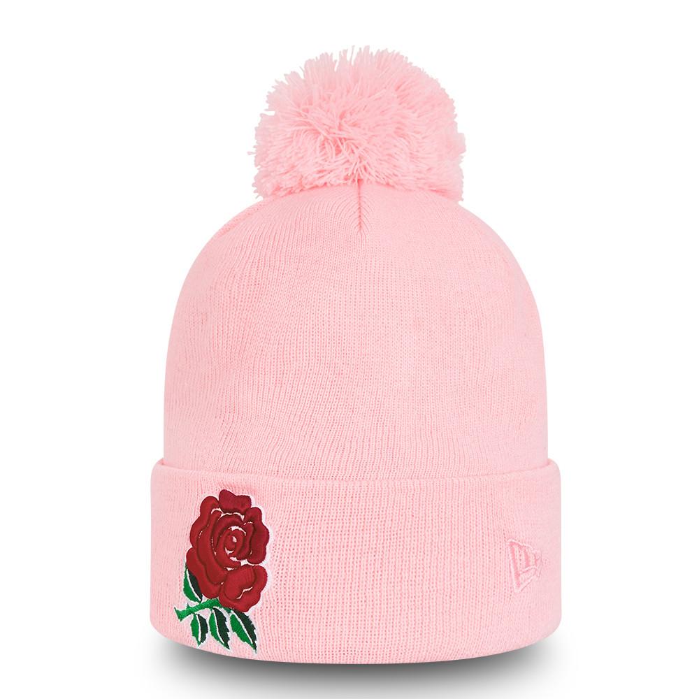 Gorro de punto con pompón England Rugby Logo, rosa