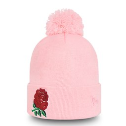 England Rugby Logo Pink Bobble Knit Hat