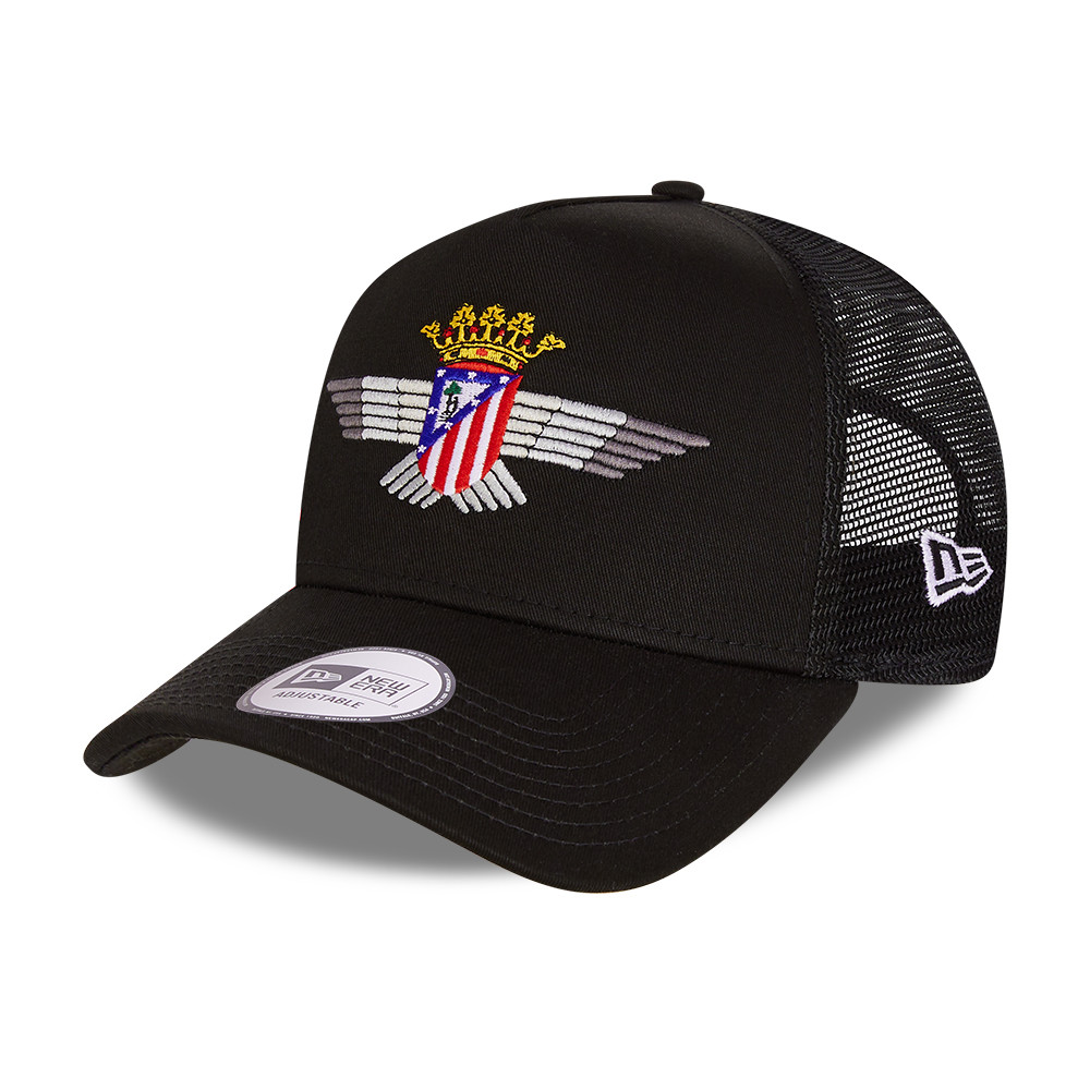 Atletico Madrid Cotton Black A-Frame Trucker Cap