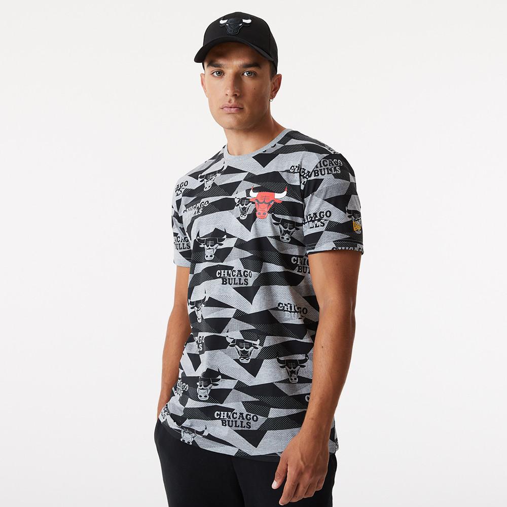 T-shirt à imprimé géométrique des Chicago Bulls gris